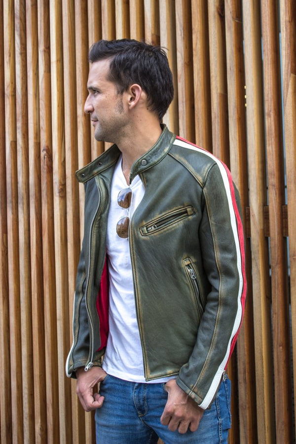 R80 AXE Leather Jacket - Washed Military Green