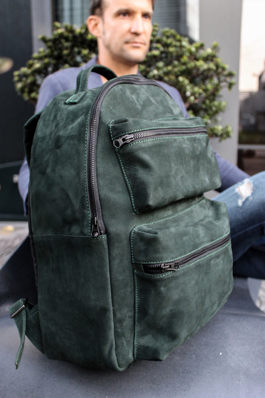 SOUTHMOUNT Suede Leather Bag Backpack in Olive Green