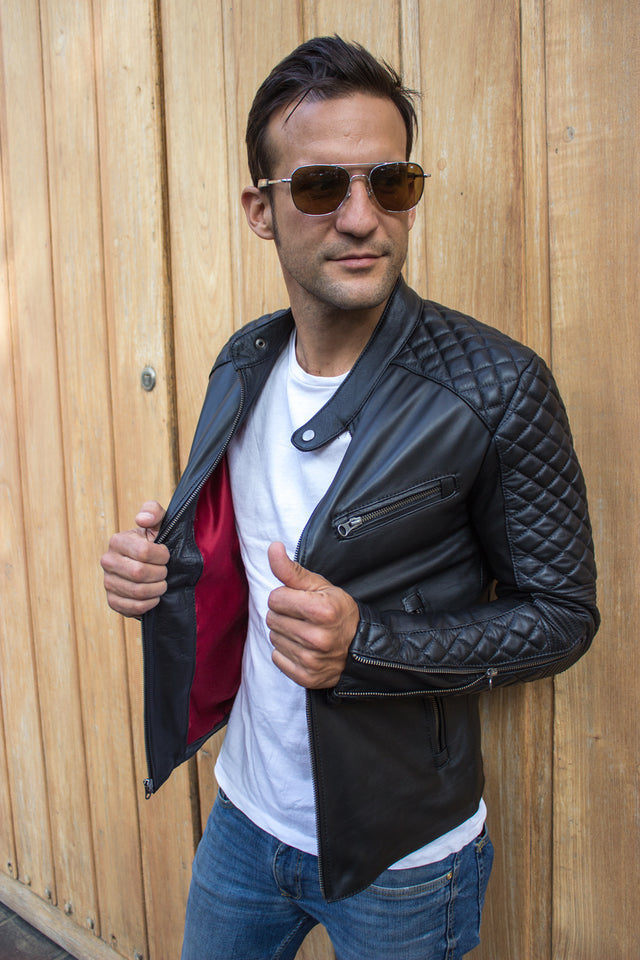 R79 QS Leather Jacket in Black Calfskin - Quilted, Cafe Racer Style
