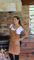 2SX Women Leather Apron in Genuine Leather Custom-Made Name - Baristas BBQ Kitchen Artist - PDCollection Leatherwear - Online Shop