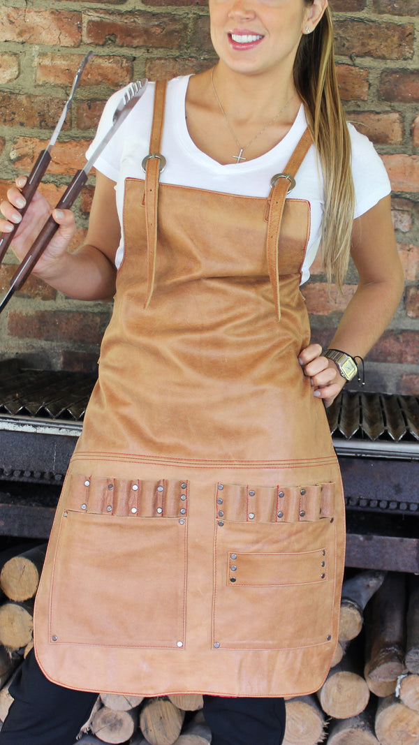2SX Women Leather Apron in Genuine Leather Custom-Made Name - Baristas BBQ Kitchen Artist