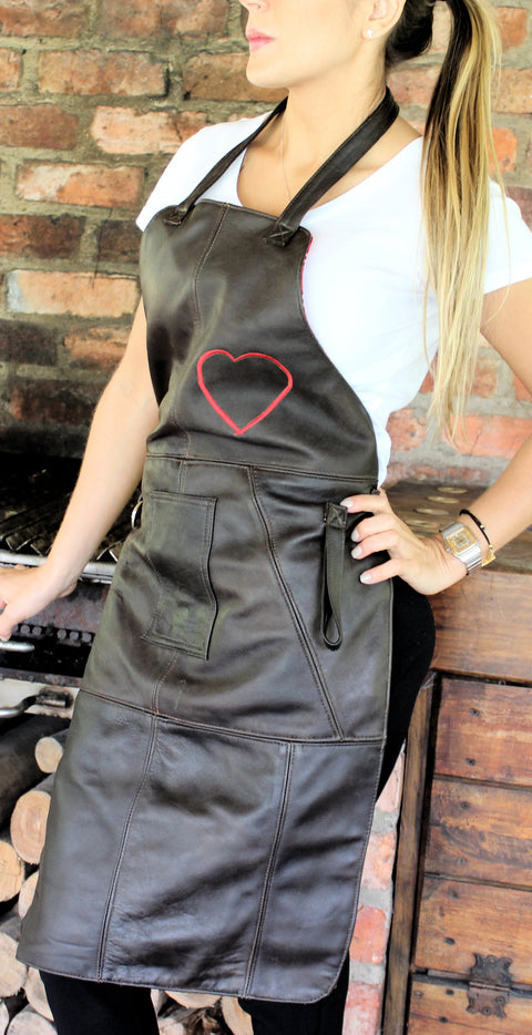 10AX Leather Apron Women Dark Brown Heart - Bbq Kitchen