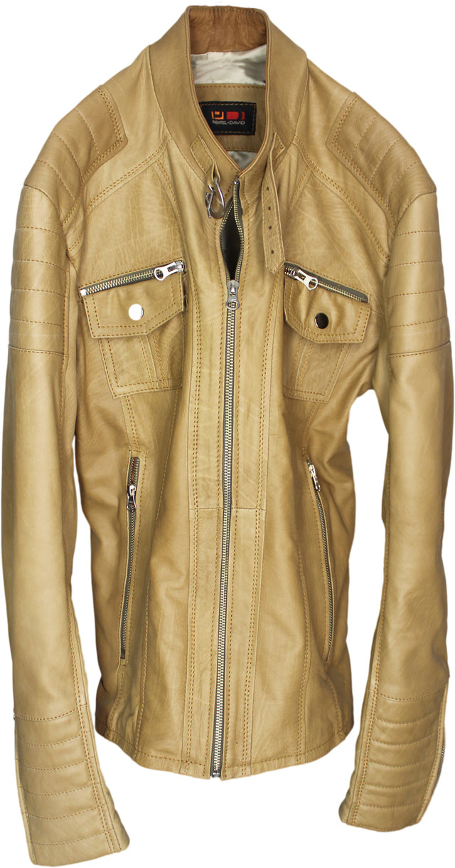 ALEPH Leather Jacket Calfskin Natural Stone