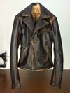 Rebel Fur Vintage Jacket Aged Leather Distressed Brown Removable Vest