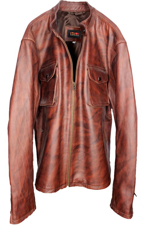 SAFARI Leather Jacket Hazelnut Shadowed- Cafe Racer Jacket