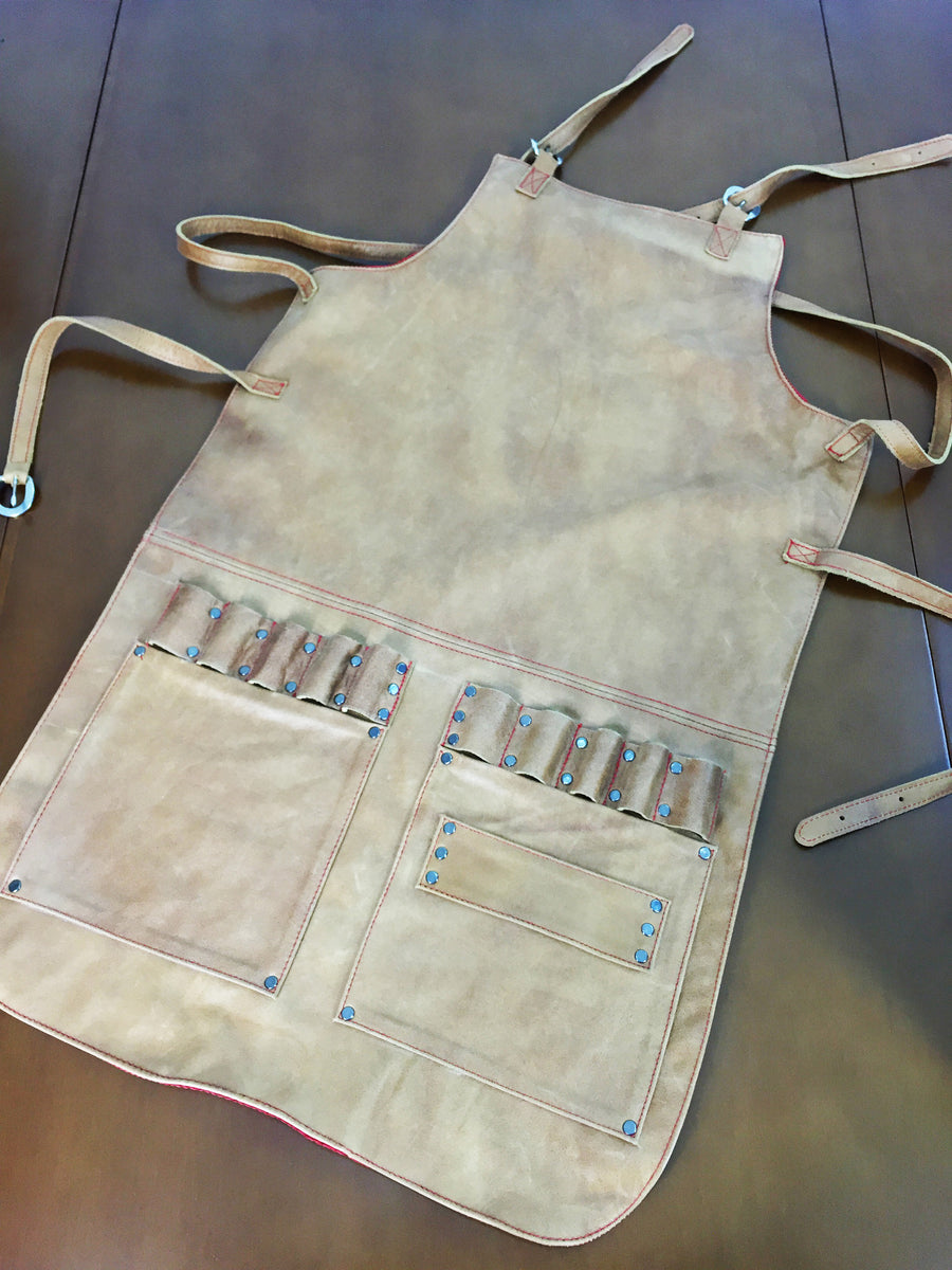 ART Leather Apron in - Stone Color Custom-made BBQ Barista Name Initials - PDCollection Leatherwear - Online Shop