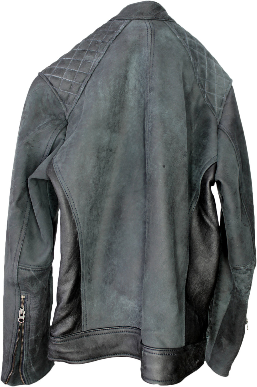RACER D Leather Jacket in Distressed Gray -
