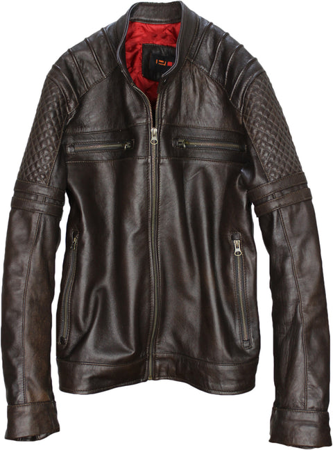 AXE Leather Jacket in Dark Brown Lambskin Cafe Racer