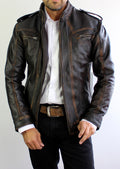 VICTORY Leather Jacket Distressed Black