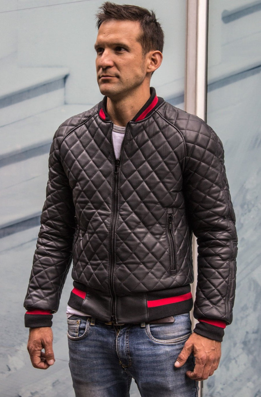 LUXUS HYBRID Bomber Quilted Jacket  Leather Black - Red Stripe