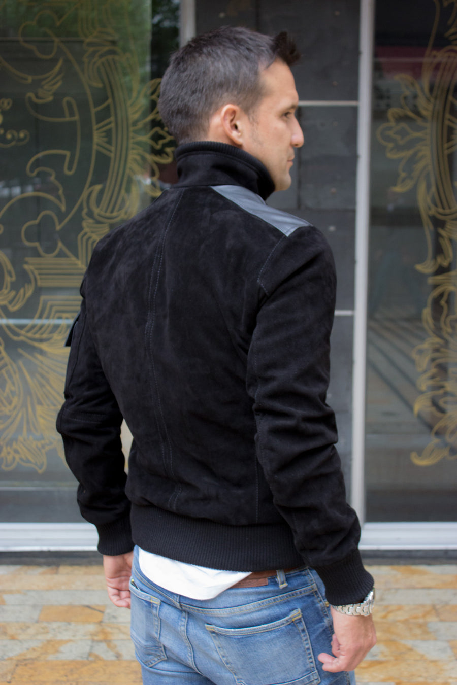 BOSS Black Suede Jacket with Leather pockets Red Zipper