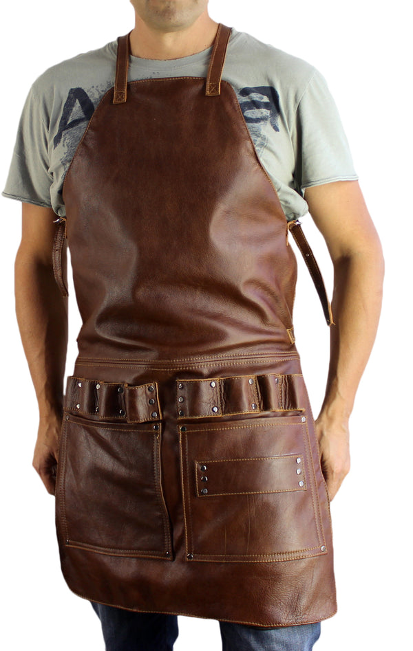 2S Leather Apron in Genuine Cowhide Mahogany Custom-Made Name Initials - Baristas BBQ Kitchen Restaurants