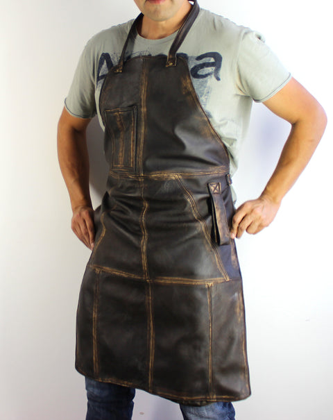 10W1UP Leather Apron Distressed Brown - Custom-Made Personalized Name Initials