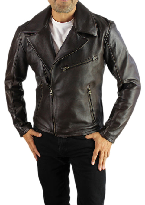 Rebel DK Leather Jacket Cafe Racer Dark Brown