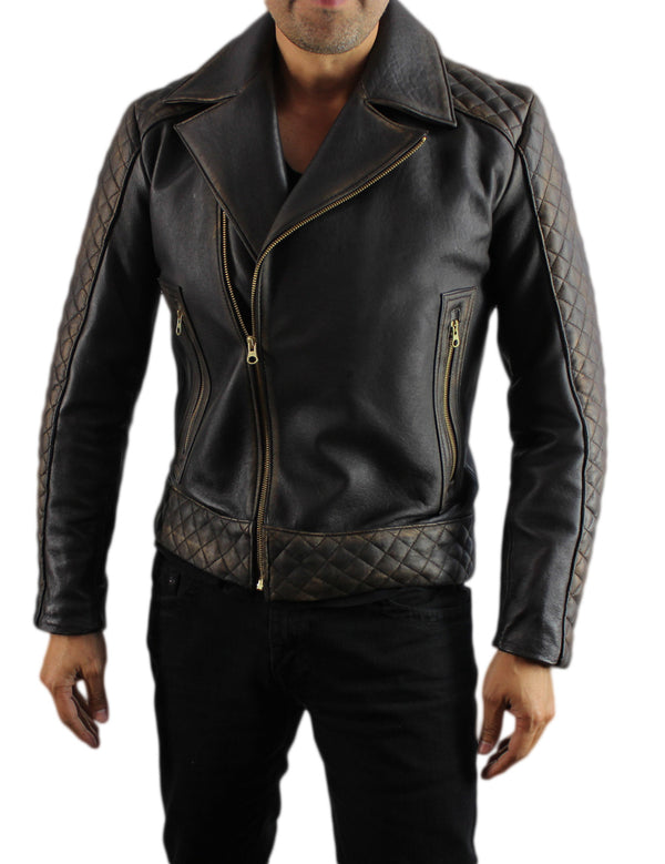 CAFE KNIGHT Leather Jacket Cafe Brown Quilted Gold Zips