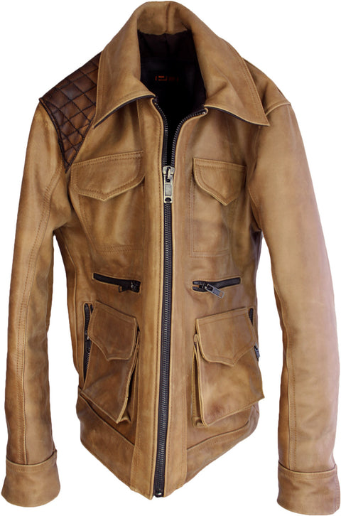 HUNSTON Leather Jacket Rugged Napa Washed Stone / Contrasted  Mid-Length