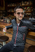 PANAMERICA Leather Jacket - Quilted, in Calfskin Black / Red Limited Edition -