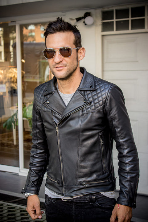 LUKAS BOLD CR Leather Jacket diamond Quilted - Black