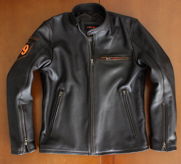 R79 LIMITED Leather Jacket Lambskin Distressed Brown Vintage Fit - Cafe Racer