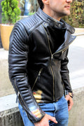 L.A. Leather Jacket Cafe Racer Hand Painted - Black - Limited Edition