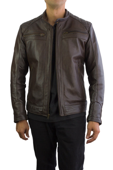 MOTO Leather Jacket  Brown Cafe Racer
