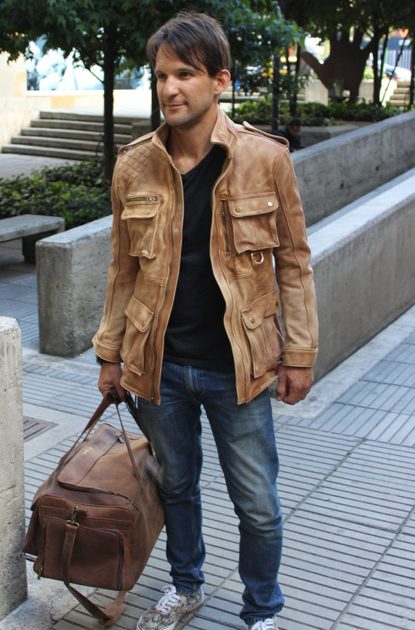FR Leather Jacket Rugged Napa Washed Stone / Contrasted  - Mid-Length