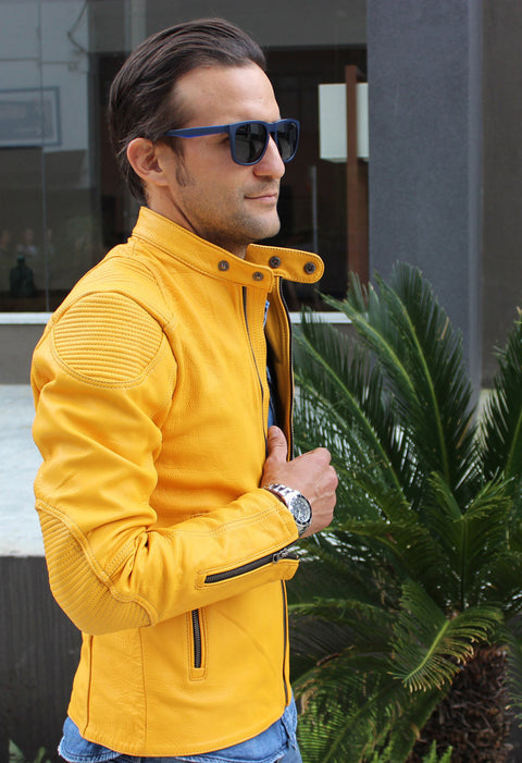 BUNGALOW Leather Jacket in Golden - Limited -Yellow