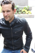 R80 Leather Jacket Black & Black Stripes - PDCollection Leatherwear - Online Shop