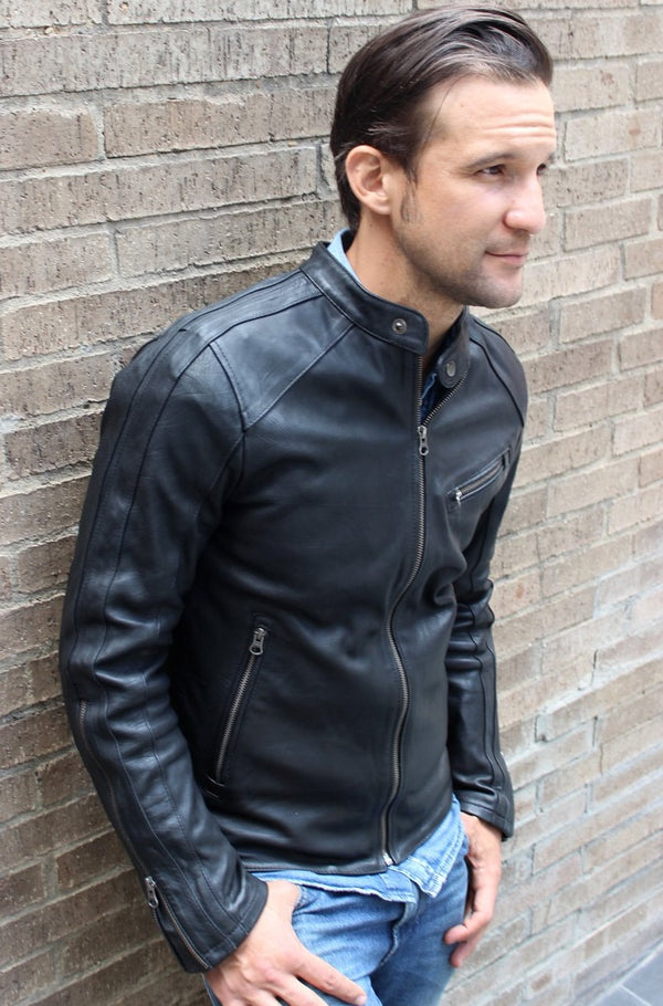 R80 Leather Jacket Black & Black Stripes