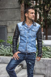 BROOKLYN RD Jean & Leather Jacket Blue Denim & Black Quilted Leather Sleeves