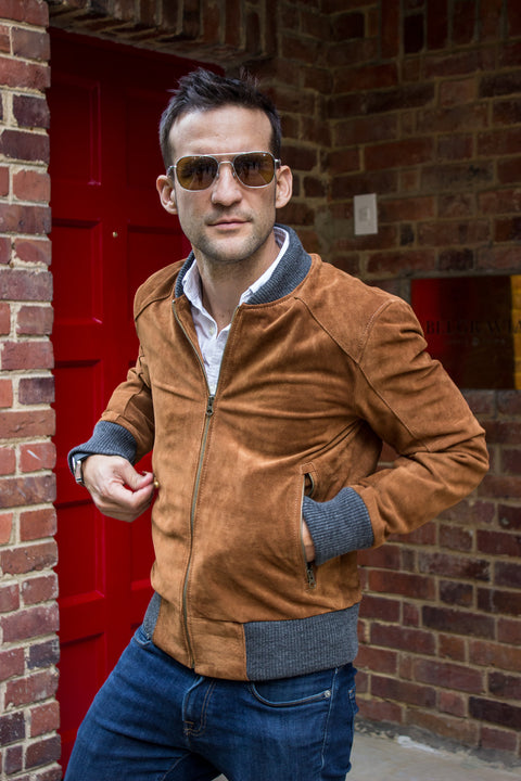 LAFAYETTE Suede Jacket Bomber Camel & Gray ribbing