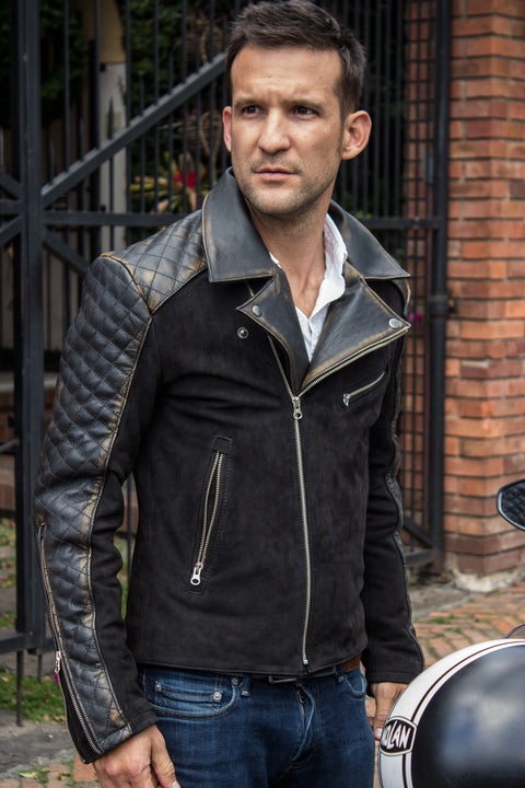OUTLANDER Leather Jacket Quilted Sleeves, distressed black & Suede Nubuck