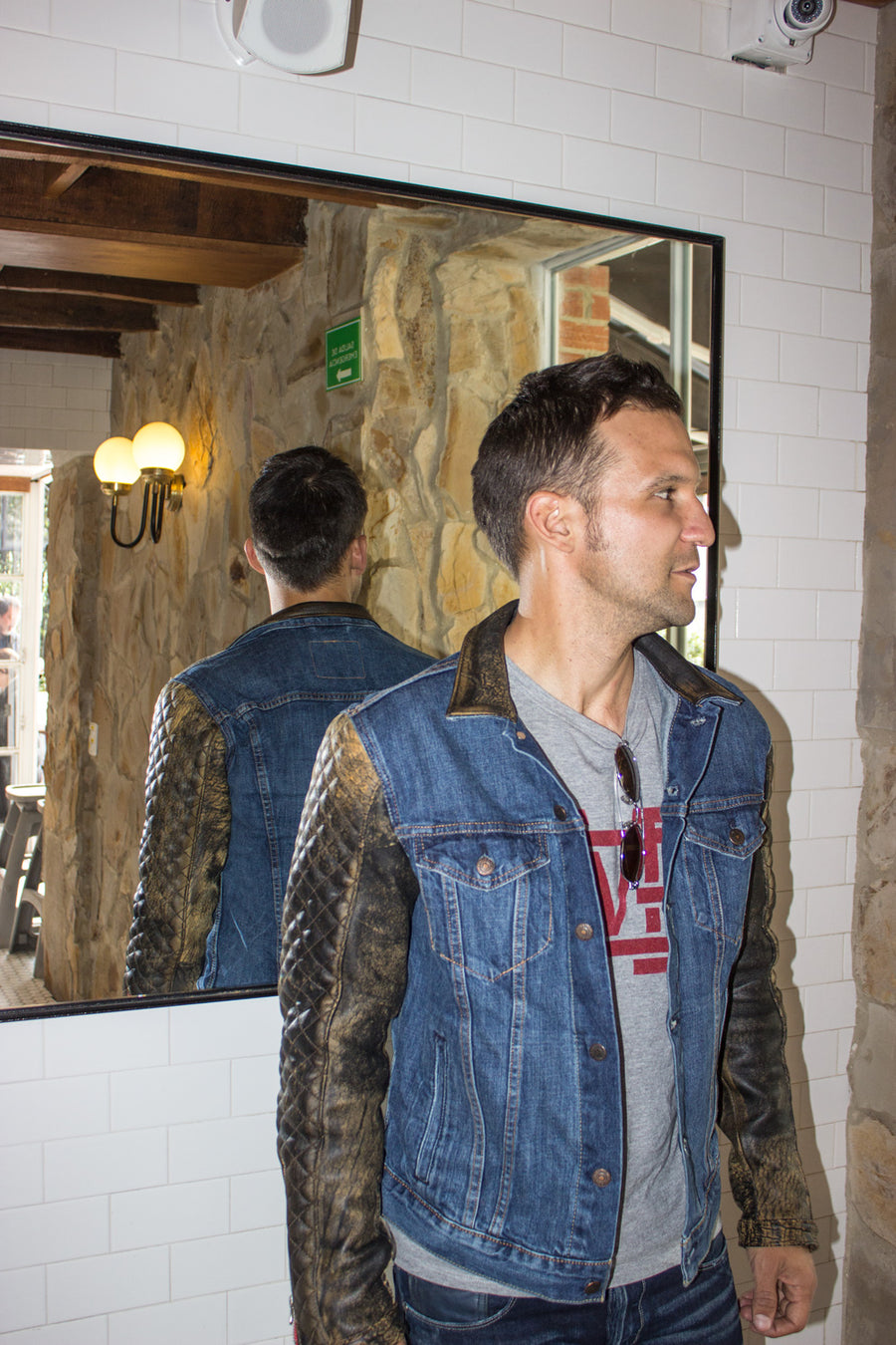BROOKLYN AX Jean & Leather Jacket Blue Denim & Distressed Quilted Leather Sleeves - PDCollection Leatherwear - Online Shop