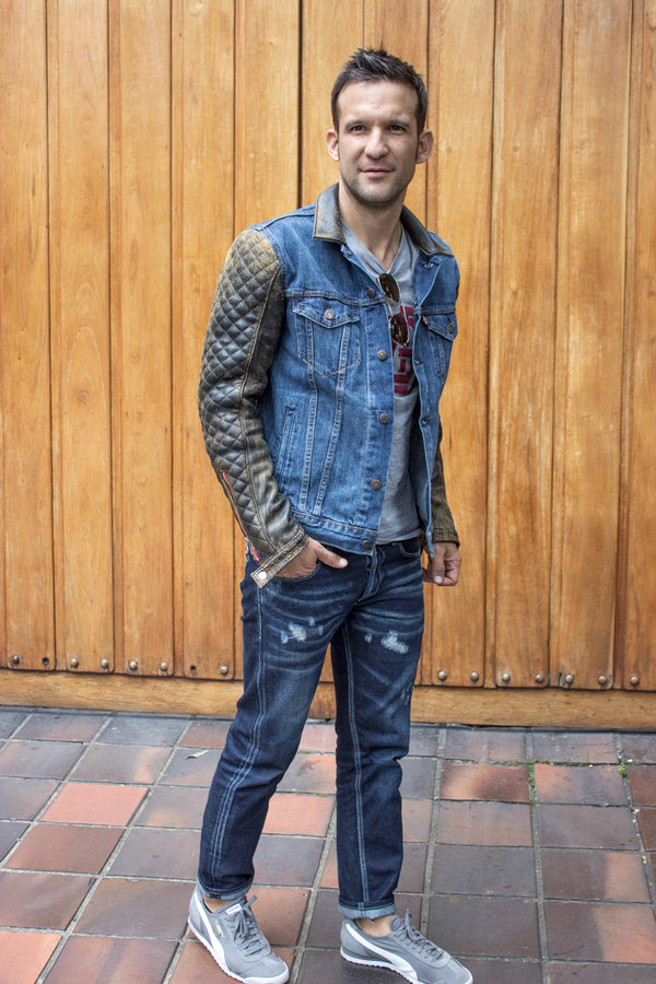 BROOKLYN AX Jean & Leather Jacket Blue Denim & Distressed Quilted Leather Sleeves