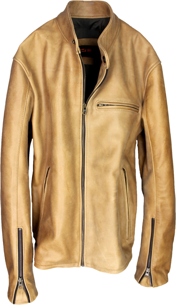 R79 Leather Jacket Lambskin Bronze Tan Vintage Fit - Motorcycle Cafe Racer