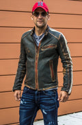R80 HERITAGE Leather Jacket - Washed & Distressed Military Green w/ Stripes