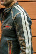 R80 HERITAGE Leather Jacket - Washed & Distressed Military Green w/ Stripes - PDCollection Leatherwear - Online Shop