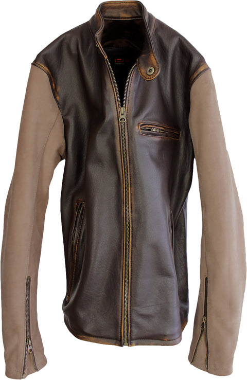 R79 V. Leather Varsity Jacket Two-Tone Distressed Brown Vintage Fit- Motorcycle Cafe Racer
