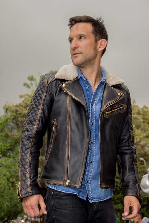 BELGRAVE SQ Leather Jacket Shearling  Quilted in Distressed Brown