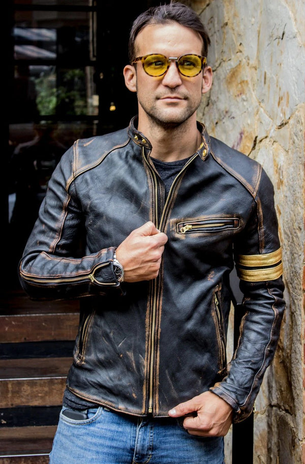 GOLD 19 Leather Jacket washed distressed black & gold stripes