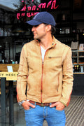 SOL STORM Leather Jacket Pre-Washed tan Leather  - Cafe Racer