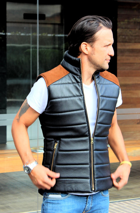NORDIK Leather quilted Vest in Black / Suede Shoulders