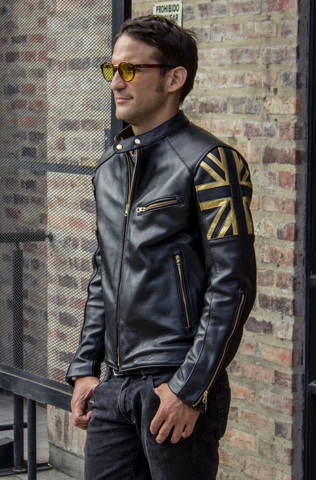 LONDON GOLD Leather Jacket Black & gold UK flag