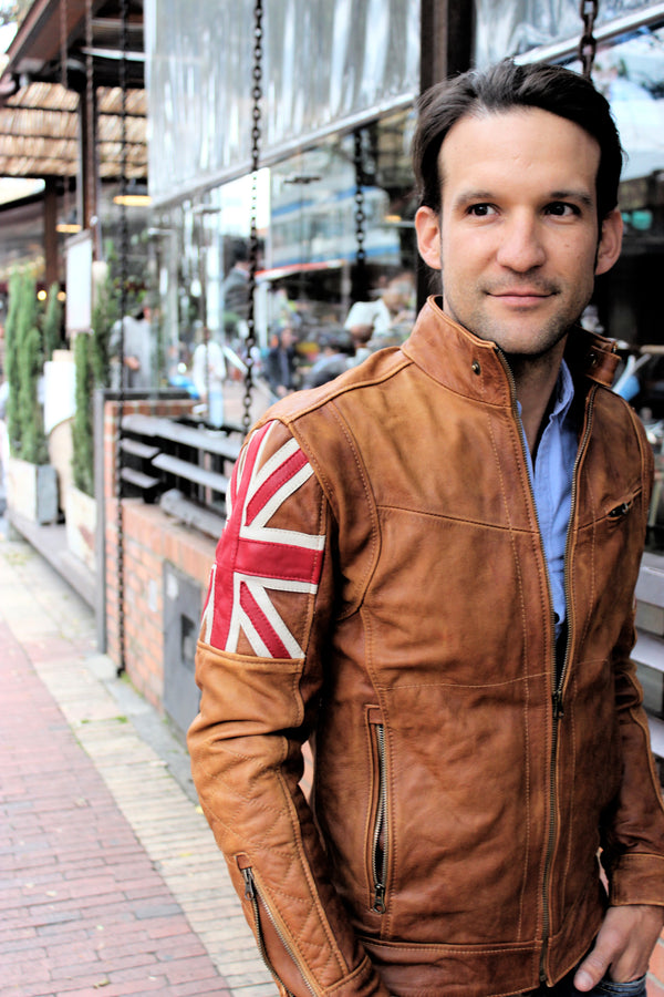 UNION JACK Leather Jacket in Brown Cognac Color British Flag Cafe Racer- Limited Ed
