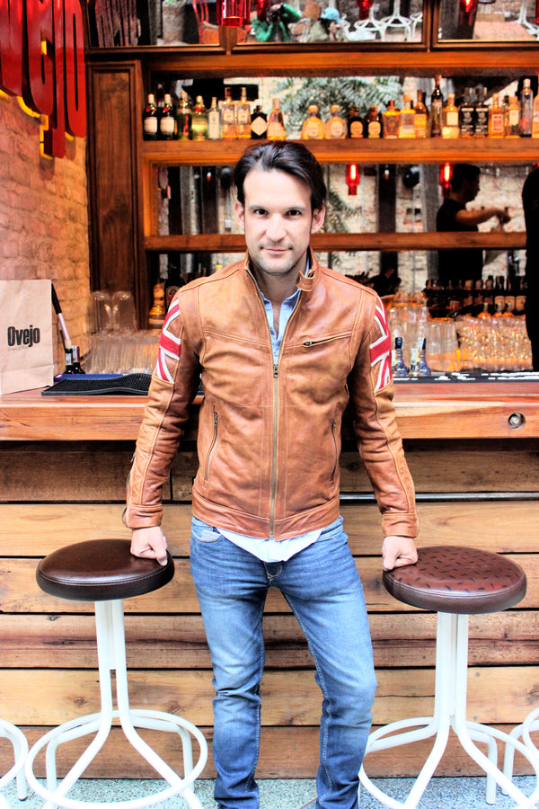 UNION JACK Leather Jacket in Brown Cognac Color British Flag Cafe Racer-