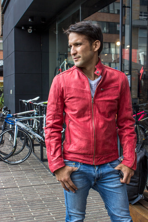 FARGON RR Leather Jacket Pre-washed Red