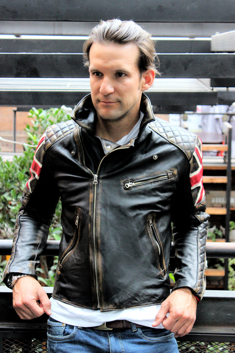 UNION JACK Leather Jacket in Distressed Black Color British Flag Cafe Racer- Limited Ed