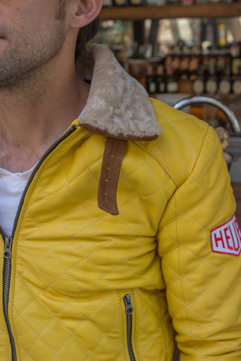EVEREAST Leather Jacket Shearling Collar Quilted, #HEUER Ed.