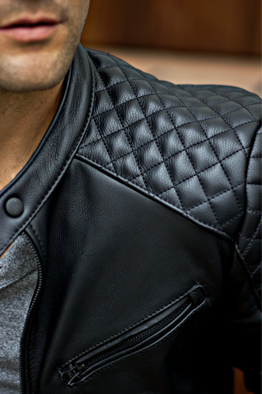 R79 QS LIMITED Leather Jacket in Black Uruguayan Cowhide - Quilted