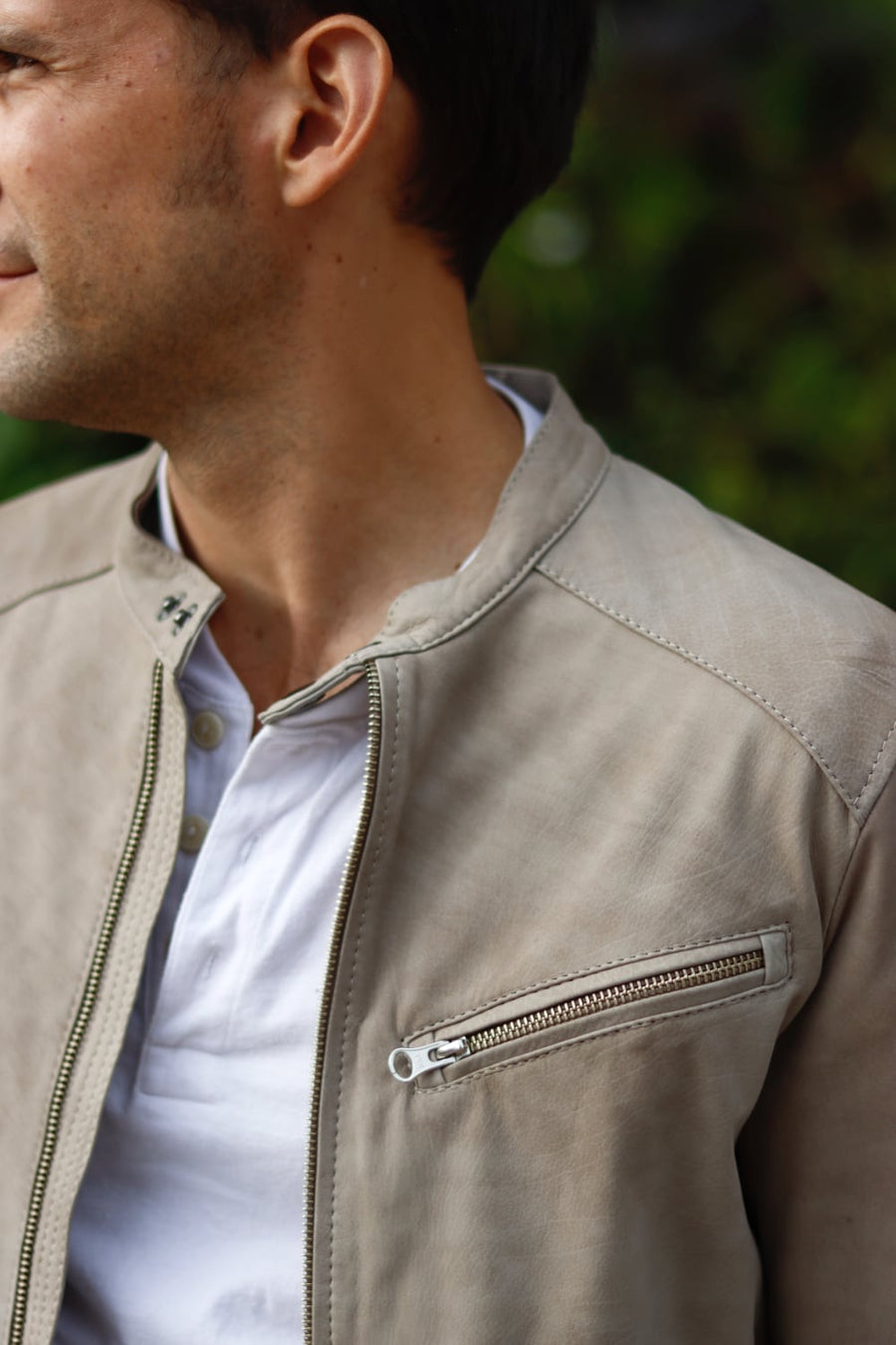 TOSCANA Leather Jacket Lightweight Calf Suede in Taupe color